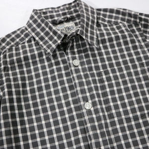 Children's Place Shirts & Tops - Gray Checkered Long Sleeve Button up 7/8 Boys